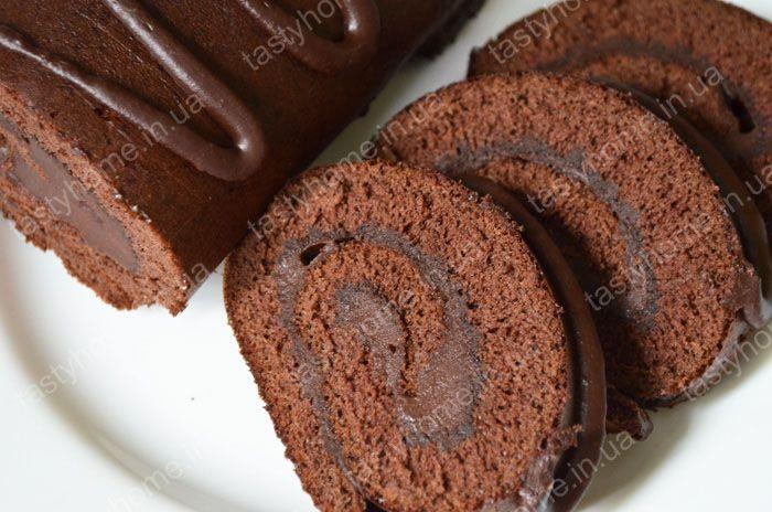Рецепт шоколадного бисквита с шоколадной начинкой
