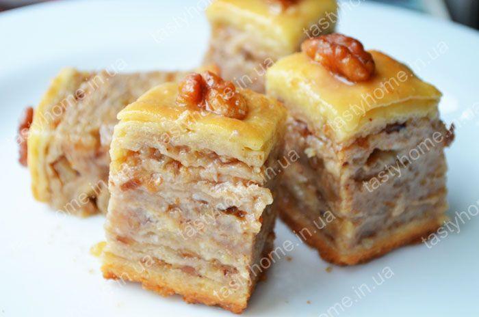 Пахлава медовая с орехами рецепт с фото