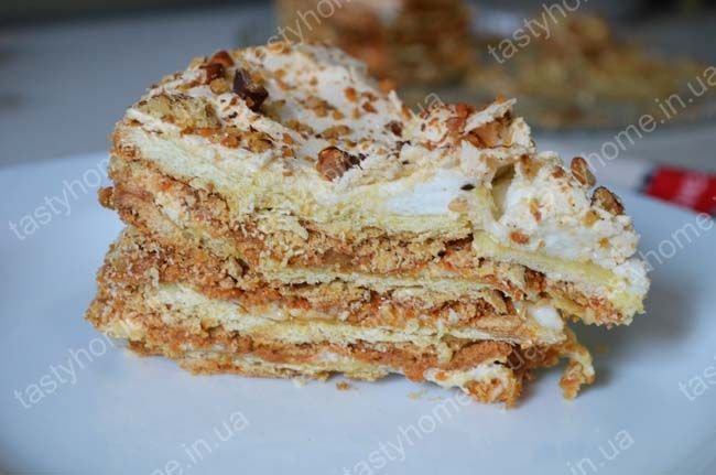 Торт с грецкими орехами и сгущенным молоком на сковороде рецепт с ... | 431x650