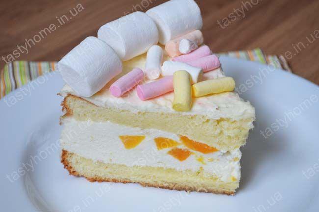 бисквитный торт с консервированными персиками