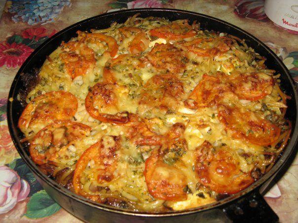 Запеканка с макаронами и фаршем на сковороде