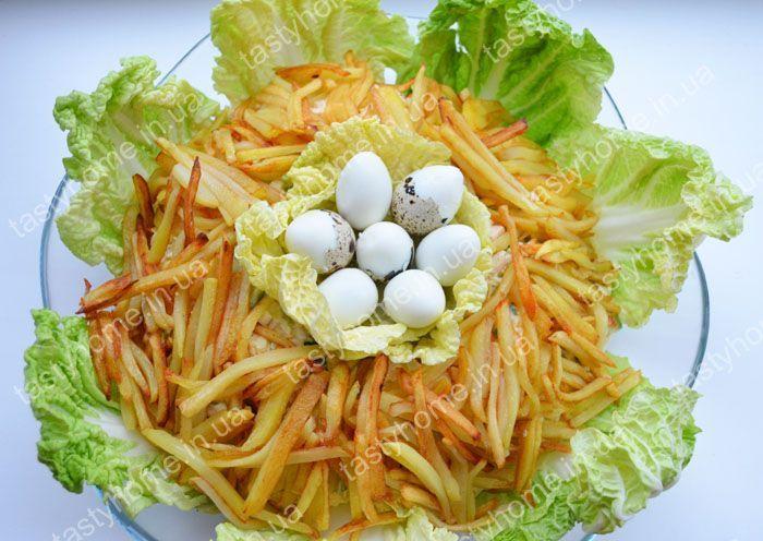 рецепт салата гнездо глухаря с курицей фото рецепт